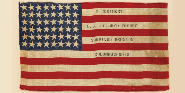 This year's auction of Printed & Manuscript African Americana contains more important material than ever, and covers the Civil Rights Movement, slavery and abolition, several American wars, literature and more. Pictured, a flag commemorating the 5th Regiment U.S. Colored Troops survivor reunion in Columbus, Ohio, circa 1900.