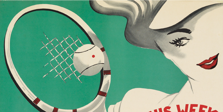 Vintage Posters | August 6Highlights from the largest group of tennis posters ever offered at auction includes works by the biggest names in poster design, ads for famous tournaments by unknown artists, and images that depict fashionable athletes.