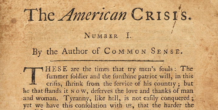 The top lot in Swann's November 25 auction of Printed & Manuscript Americana dates back to the American Revolution. Pictured here, Thomas Paine's The American Crisis was issued in parts and played a role in raising the morale of the American army at a much-needed time.