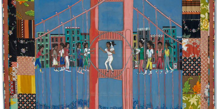 Faith Ringgold's Double Dutch on the Golden Gate Bridge, the second quilt from her important 1988 Woman on a Bridge series, realized $209,000 in our April sale of African-American Fine Art.