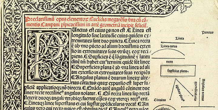Early Printed, Medical, Scientific & Travel Books | October 18Headlining this sale is the first major mathematical work to appear in print and foundation text of geometry: a first edition of Euclid's Elementa geomentriae, 1482.
