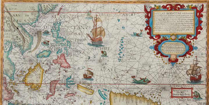 Maps & Atlases, Natural History & Color Plate Books | December 8This auction offersa plethora of global exploration artifacts. Featured is Petrus Plancius'The Spice Map, a 1598 double-page map of Southeast Asia, replete with decorative sea monsters and spices.