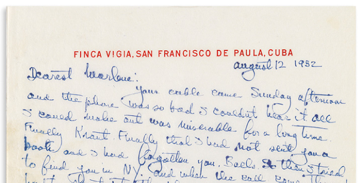 The most surprising lot in our May 4 sale of Autographs is a 1952 letter from Ernest Hemingway to Marlene Dietrich in which he discusses the publication of The Old Man and the Sea. He signs the letter, 'Love / Mr. Papa.'