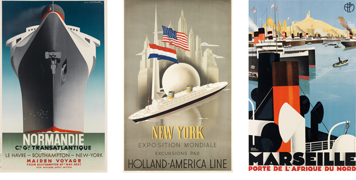Ocean liner advertisements loomed large in our October 26 auction of Rare & Important Travel Posters. Adolphe Mouron Cassandre's 1935 image, Normandie / Maiden Voyage, brought $20,000.