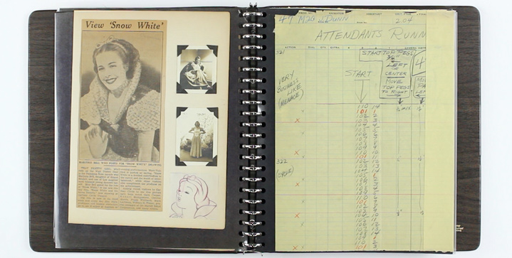 One of the most intriguing items in our Illustration Art auction on December 14 is this scrapbook of materials relating to the 1937 production of Snow White & The Seven Dwarfs, presumed to have been owned by Ingeborg Willy, a Walt Disney Studios inker.