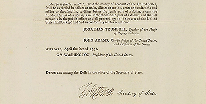 Our April 8 auction featured <I>An Act Establishing a Mint, and Regulating the Coins of the United States</I>, a five-page document signed by Thomas Jefferson, as Secretary of State, Philadelphia, 2 April 1792. This first printing of the coinage act defined the American currency system and established the dollar as legal tender. It sold for $118,750.