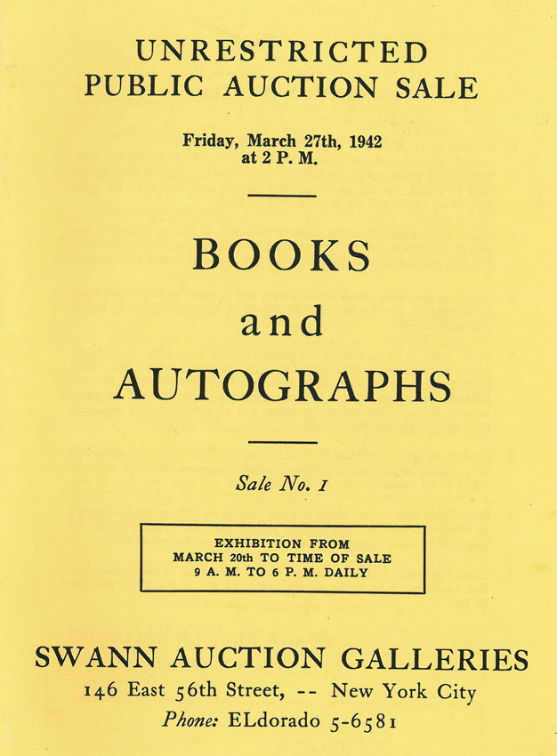 Catalogue cover for the first Swann auction, 1942.