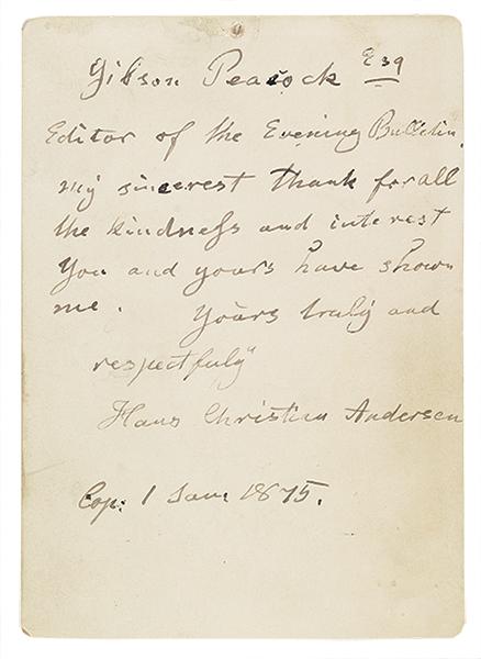 Hans Christian Andersen Letter
