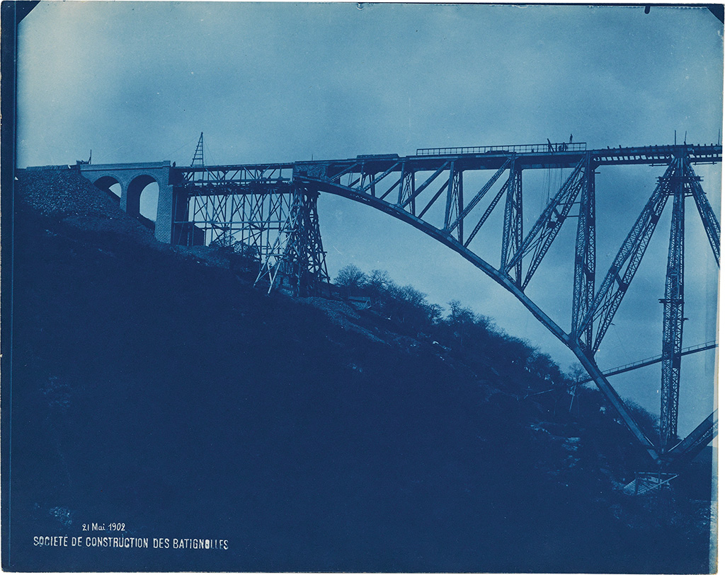 Cyanotypes documenting construction of a trestle bridge