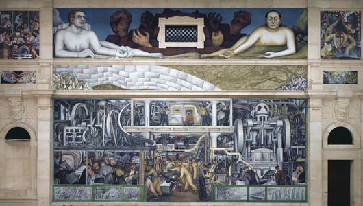 Diego rivera 39 s interpretation of his detroit industry for Detroit rivera mural
