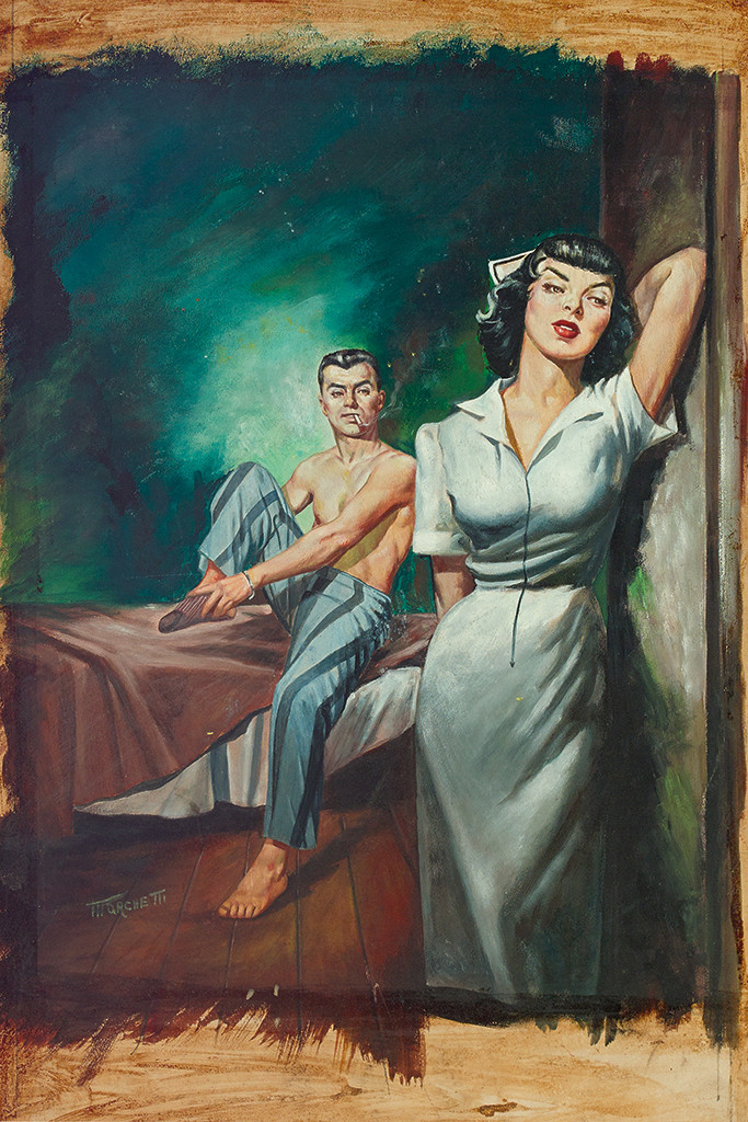 Lot 95 - Lou Marchetti, Intimate Affairs of a French Nurse, gouache on board, cover for pulp novel of the same name by Florence Stonebraker, New York, 1953. Estimate $600 to $900.