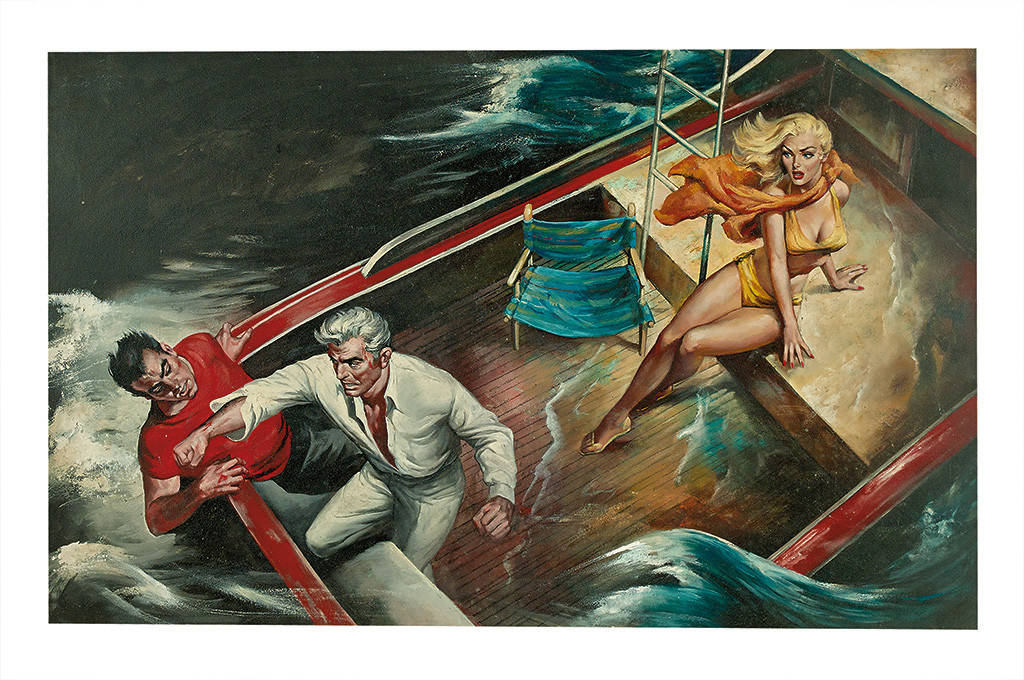 Lot 27: Charles Copeland, The Big Wet Kill, acrylic on board, published September 1958 in Swank Magazine. Estimate $800 to $1,200.