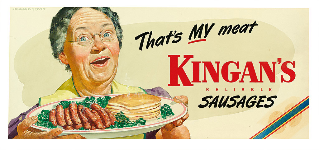 Lot 164: Howard Scott, That's My Meat!, Kingan's Reliable Sausages billboard artwork, gouache on board with collage, 1949. Estimate $600 to $900