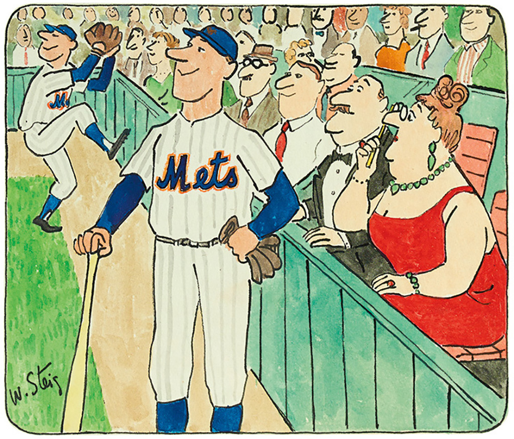 Lot 200: William Steig, The New York Mets (with Opera-goers), ink and wash on paper, circa1969-1973. Estimate $700 to $1,000.