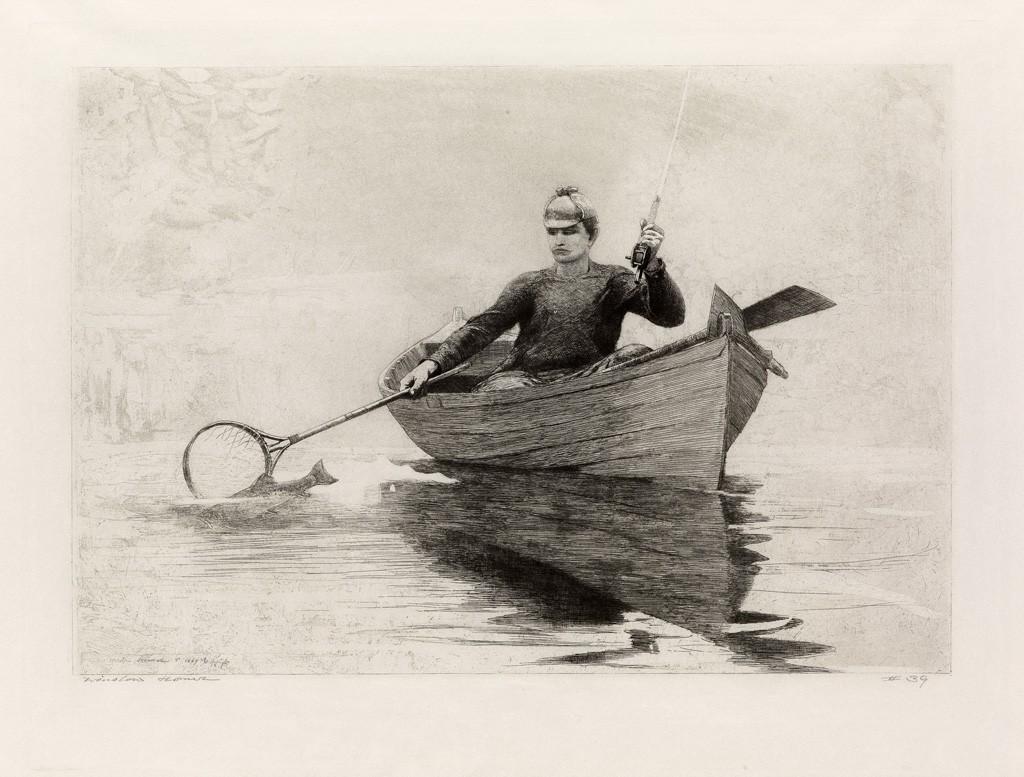 "Winslow Homer, ""Fly Fishing, Saranac Lake,"" etching, American Prints"