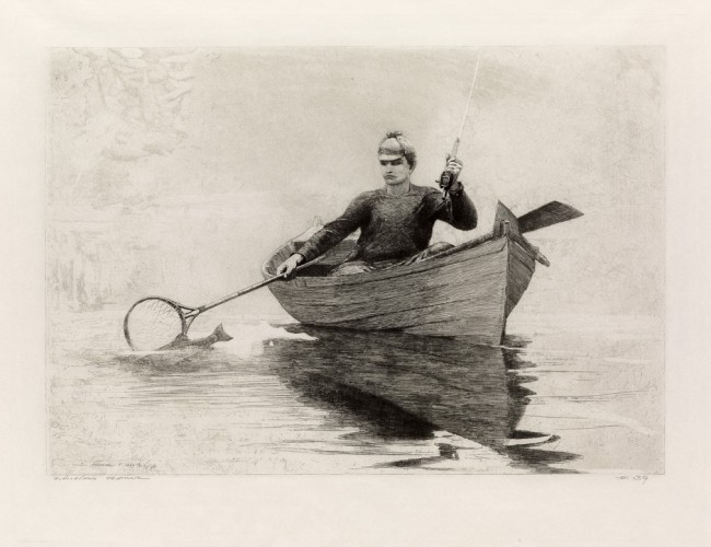 "Winslow Homer, ""Fly Fishing, Saranac Lake,"" etching"