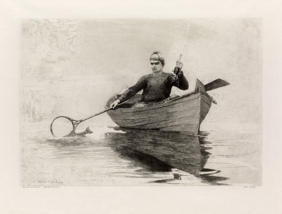 """Winslow Homer, """"Fly Fishing, Saranac Lake,"""" etching"""