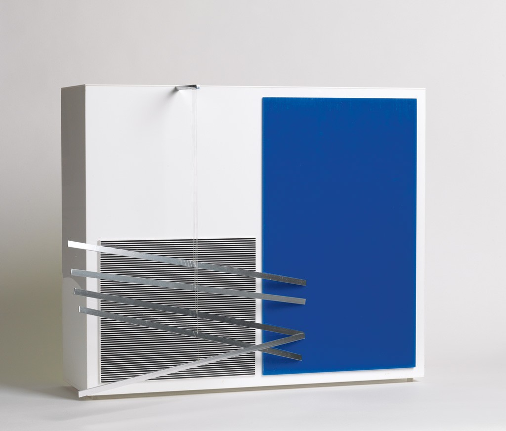 Jesús Rafael Soto, Jai-Alai Series, Multiples I-V, groupf of five multiples with color screenprint, Plexiglas, metal and cords, 1969. Sold November 12, 2014 for $60,000.