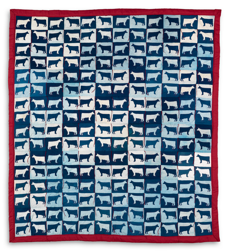 Lot 199: Elaine O'Neil, Rather See One Than Be One, multi-paneled cyanotype cow quilt, Estimate $2,500 to $3,500.