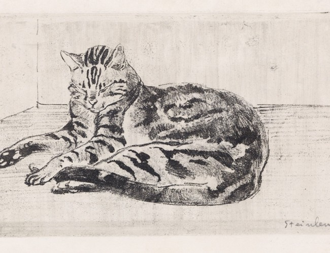 Lot 133: Théophile Steinlen, Chat sur le plancher, soft ground etching with aquatint and drypoint, 1902. Estimate $4,000 to $6,000.