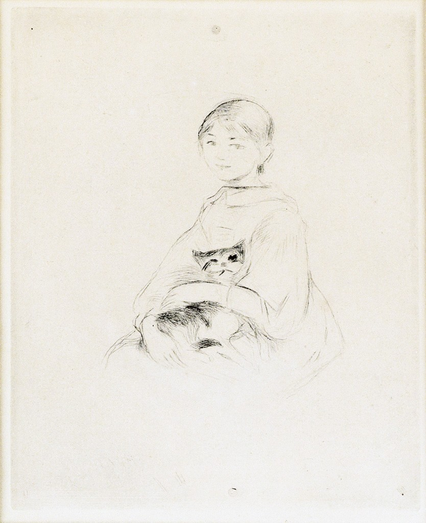Lot 82: Berthe Morisot, Fillette au Chat (Julie Manet), drypoint, 1889, sold with Nu de dos, drypoint, 1889. Estimate $1,000 to $1,500.