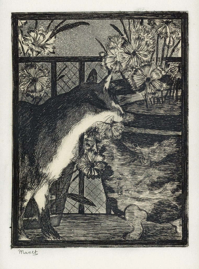 Lot 54: Édouard Manet, Le Chat et les Fleurs, etching and aquatint, 1869. Estimate $1,000 to $1,500.