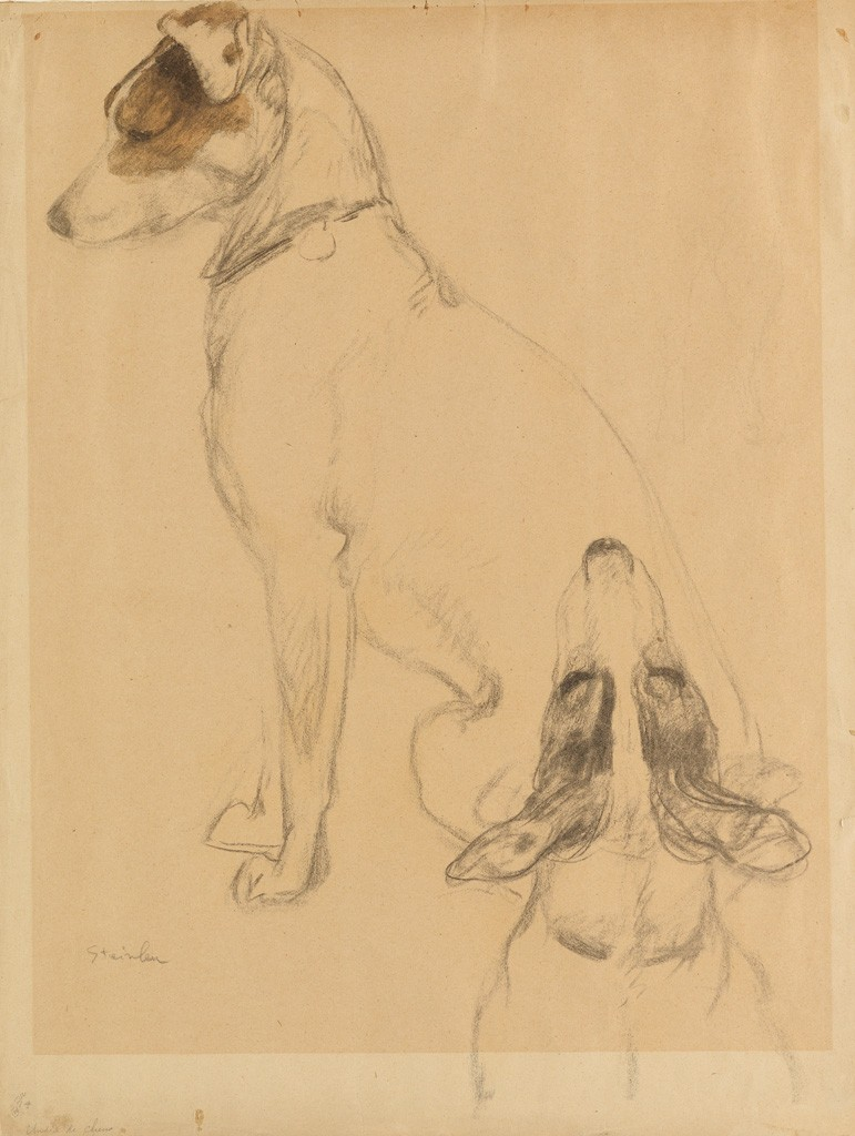 Lot 138: Théophile Steinlen, Deux Chiens, pencil and watercolor. Estimate $3,000 to $5,000.