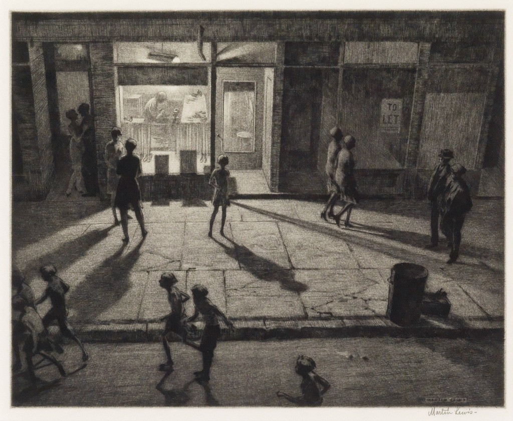 Martin Lewis, Spring Night, Greenwich Village, drypoint and sandpaper ground, American Prints