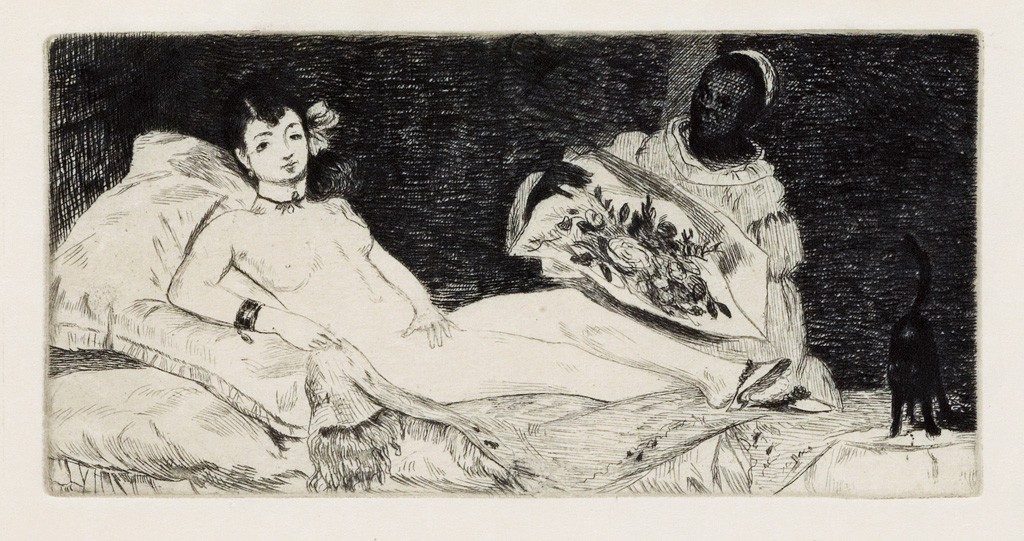 Lot 53: Édouard Manet, Olympia, etching, 1837. Estimate $2,500 to $3,500.
