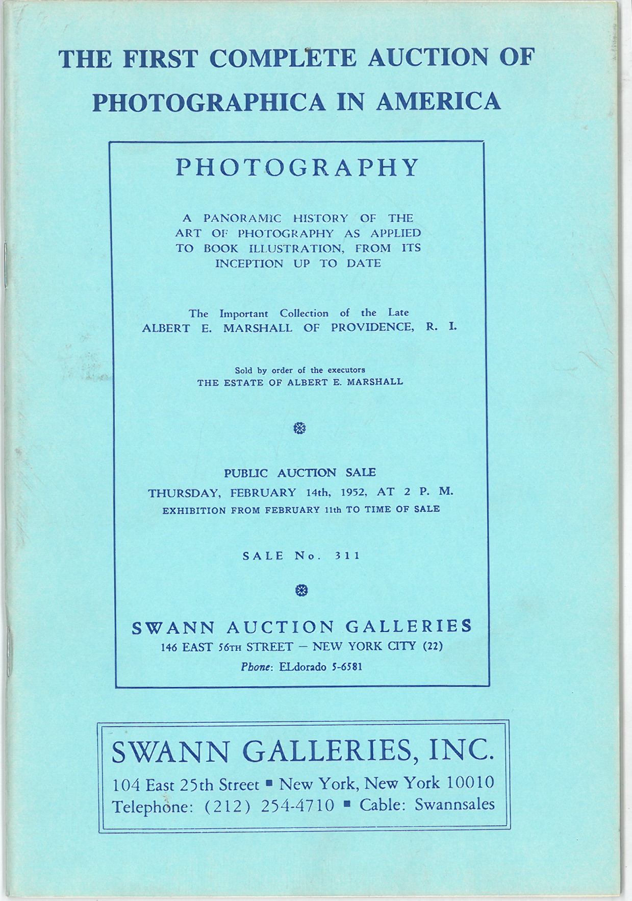 Cover of the Catalogue for America's first Photographs Auction