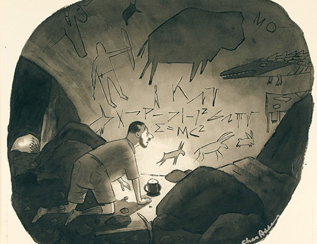 Charles Addams, E=MC², watercolor and ink on board, published in The New Yorker Oct. 8, 1960. Sold for $11,700.