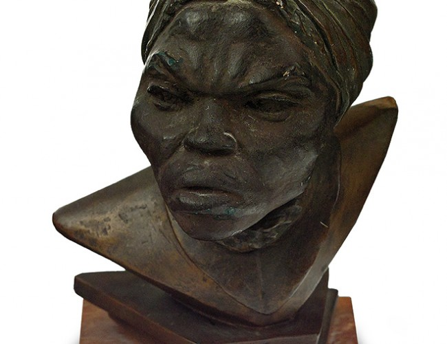 Inge Hardison, Harriet Tubman (supplied title), plaster composite bust with anodized bronze finish on wooden base, circa 1960s-70s.