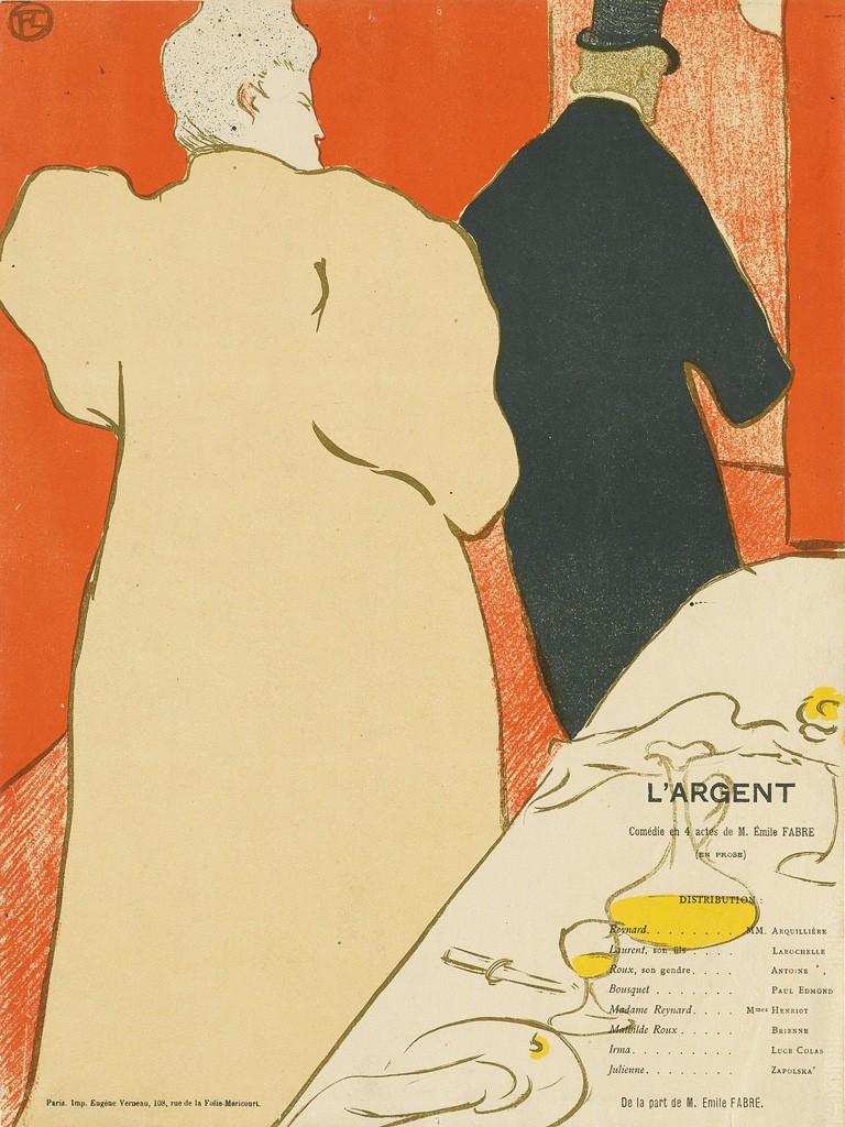 """Henri Toulouse-Lautrec, Une Monsieur et une Dame, Programme pour """"L'Argent,"""""""
