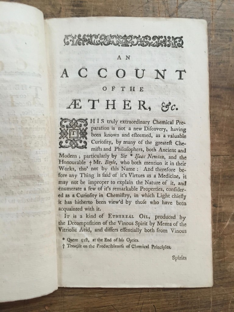 Lot 161: Matthew Turner, An Account of the Extraordinary Medicinal Fluid, called Aether, [London], 1761. Estimate $5,000 to $7,000.