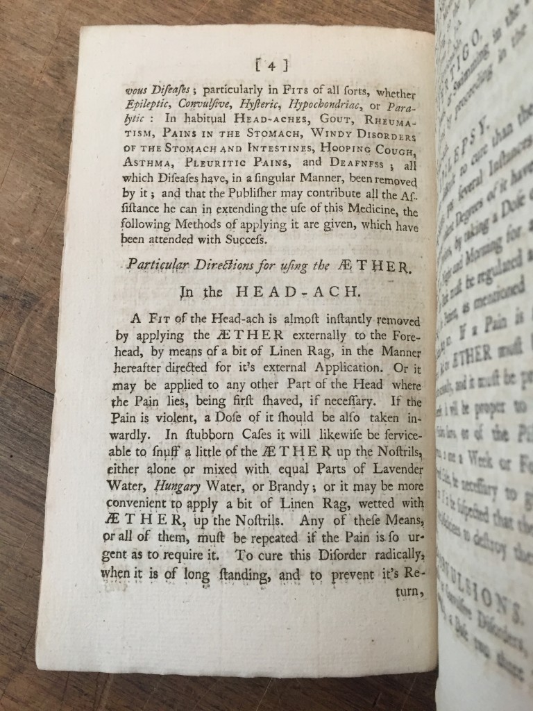 Matthew Turner, An Account of the Extraordinary Medicinal Fluid, called Aether, [Liverpool], 1761