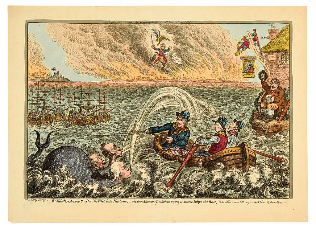 James Gillray, British Tars, towing the Danish Fleet into Harbour, hand-colored etching, London, 1807.