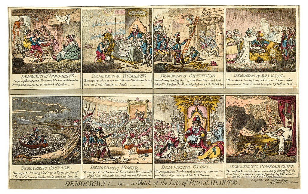 James Gillray, Democracy, hand-colored etching, London, 1800.