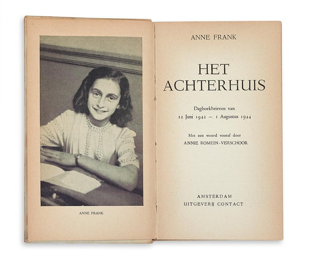 Anne Frank, Het Achterhuis, true first edition of the diary of Anne Frank