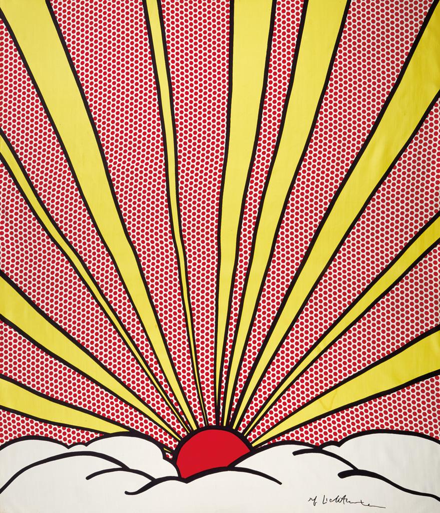 Roy Lichtenstein, Sunrise, color silk panel, 1965.