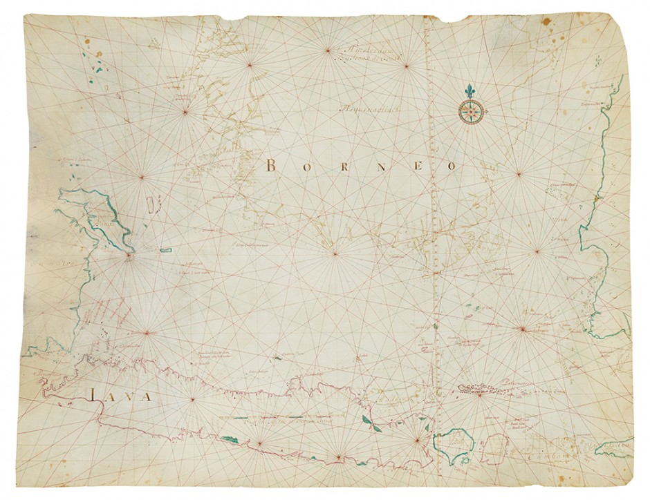 Lot 32: Isaak de Graaf, a fine manuscript map of the Java Sea, ink and watercolor on vellum, Amsterdam, 1743.