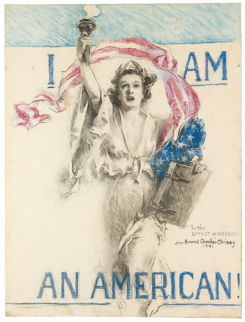 Howard Chandler Christy, I Am an American!, charcoal and pastel on board, 1941.