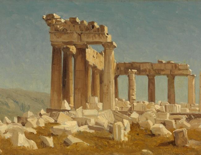 Sanford Robinson Gifford, Study of the Parthenon, oil on canvas, 1869.