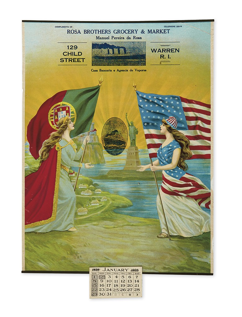 Rosa Brothers Grocery & Market Calendar with colorful depiction of Portuguese-American immigration, chromolithograph, 1928.