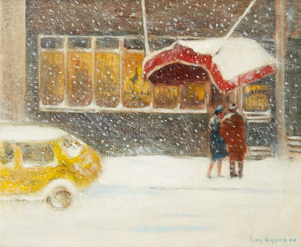 Guy C. Wiggins, Cafe in the Snow, oil on canvas.