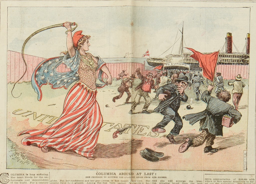 From a pair of issues of the Saturday Globe with color cartoons on the immigration issue, Utica, NY, 18 April 1908.