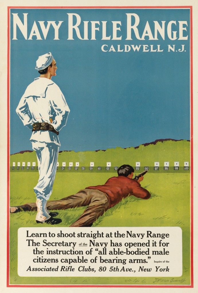 Lot 154: Navy Rifle Range, J. William Cromwell, circa 1917. Estimate $800 to $1,200.