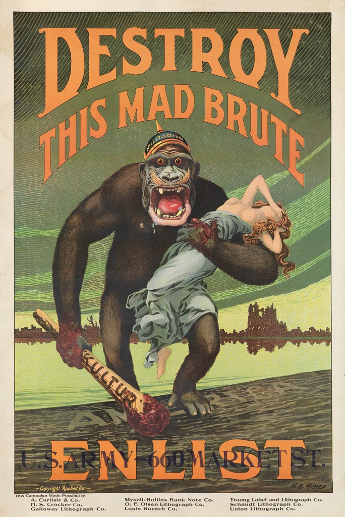 Lot 166: Destroy This Mad Brute / Enlist, H.R. Hopps, circa 1917. Estimate $12,000 to $18,000.