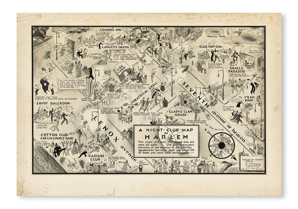 E. Simms Campbell, A Night-Club Map of Harlem, pen and brush, 1932. Sold March 31, 2016 for $100,000.
