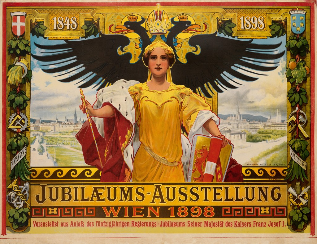 Lot 2: Alois Hans Schram, Jubilæums – Ausstellung / Wein, 1898.Sold August 3, 2016 for $3,750, a record for the poster.