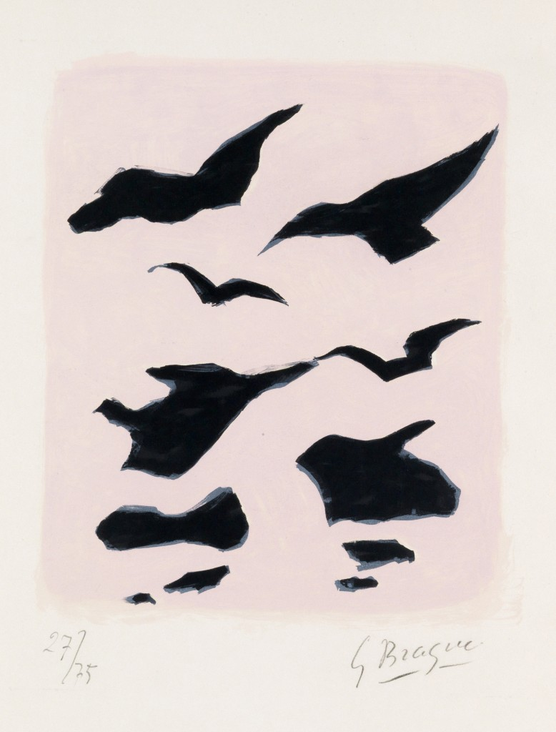 Georges Braque, Oiseaux, color lithograph, 1962. Estimate $1,500 to $2,000.